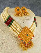 Adorable Gold Finish Multi Colour Fancy Necklace For Women