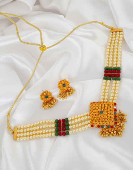 Adorable Gold Finish Multi Colour Fancy Necklace For Women