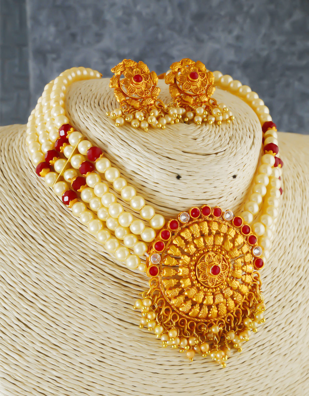 Red Colour Gold Finish Traditional Pearls Jewellery