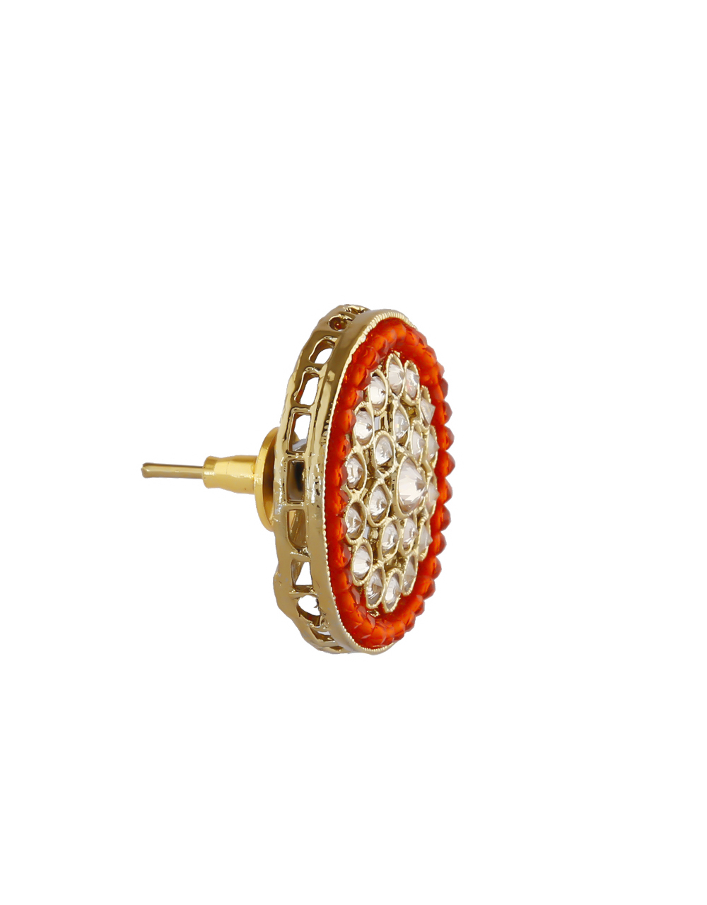Red Colour Gold Finish Stunning Ear Tops For Wedding