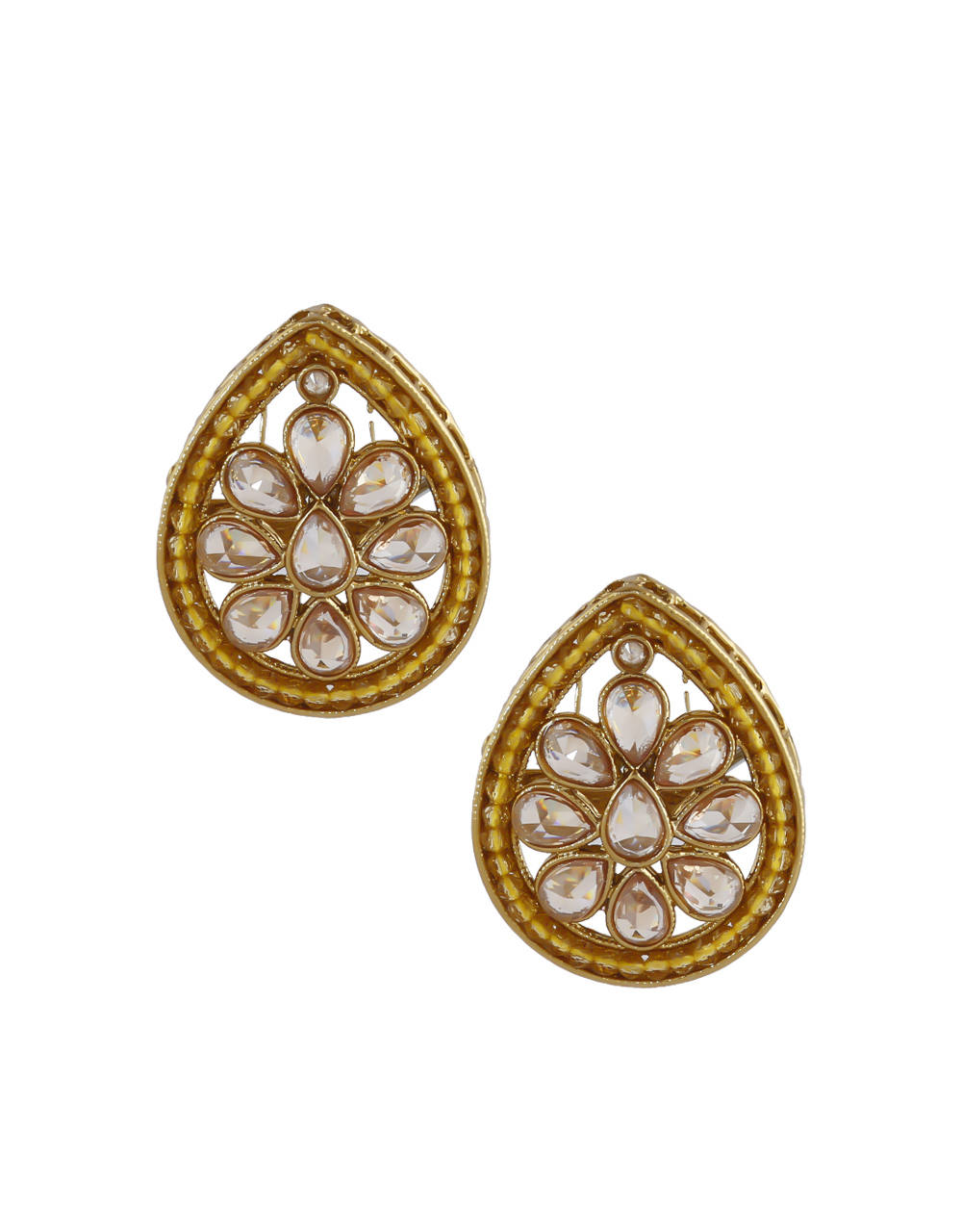 Yellow Colour Gold Finish Traditional Earrings Stud