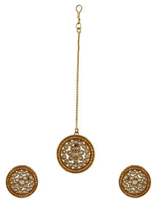 Orange Colour Gold Finish Party Wear Earring Tops Mang Tika