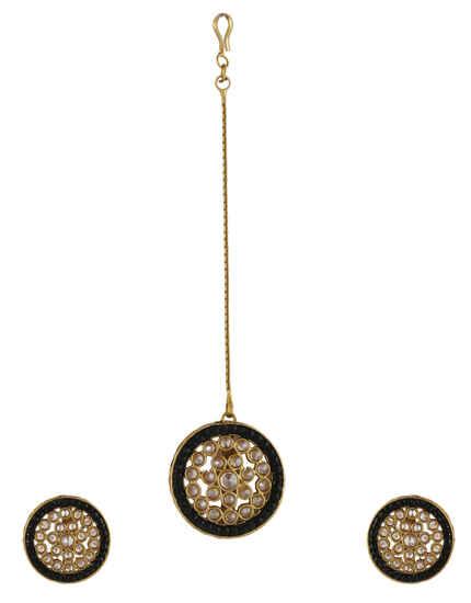 Black Colour Gold Finish Stunning Ear Stud For Women