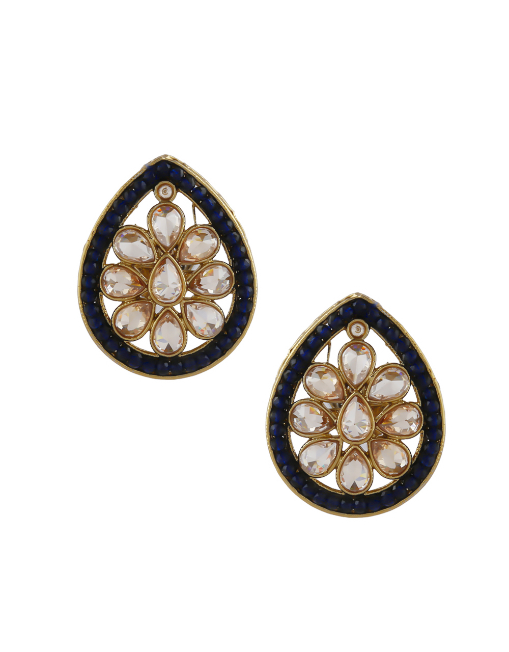 Navy-Blue Colour Gold Finish Traditional Ear Stud For Girls