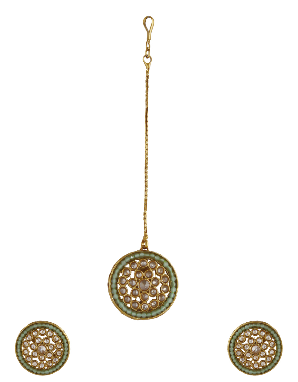 Green Colour Gold Finish Round Shape Fancy Earring Set