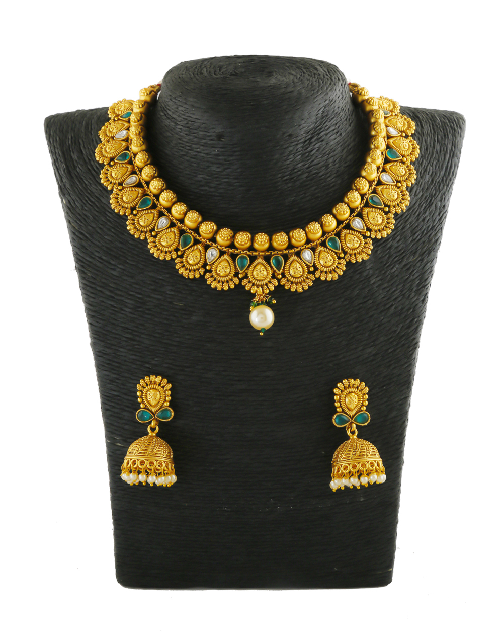 Green Colour Gold Finish Kundan Traditional Necklace