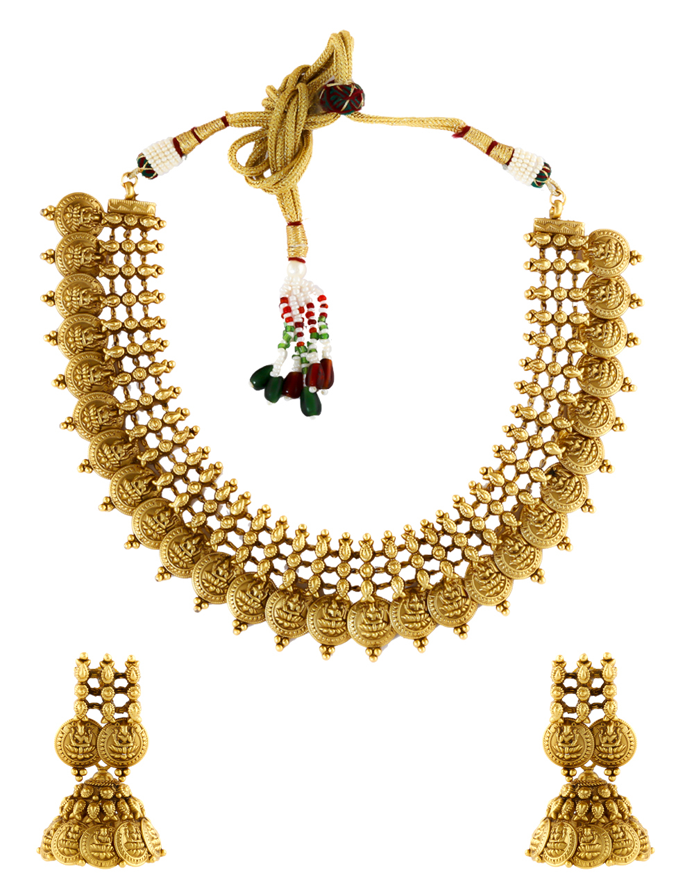 Gold Finish Temple Necklace Jewellery For Women