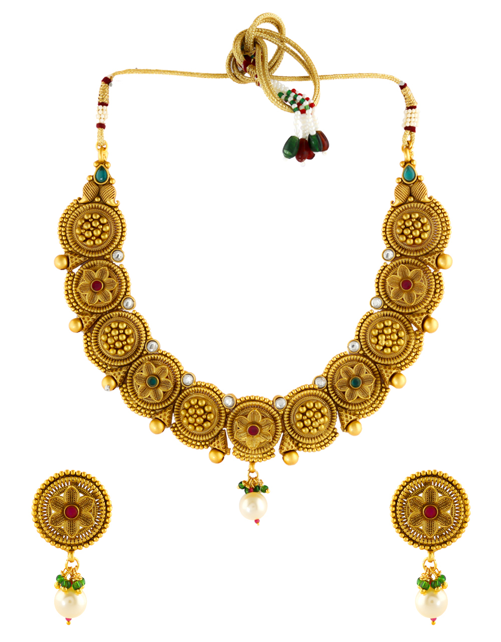Matte Gold Finish Multi Colour Floral Design Traditional Necklace