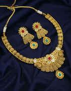 Multi Colour Gold Finish Kundan Necklace For Women