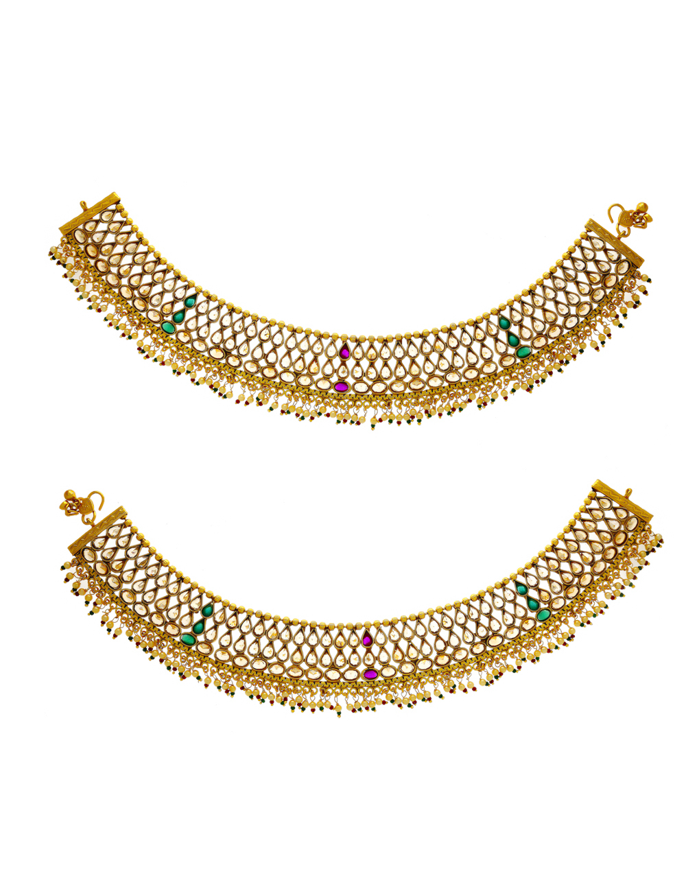 Multi Colour Gold Finish Payal For Bride Anklet