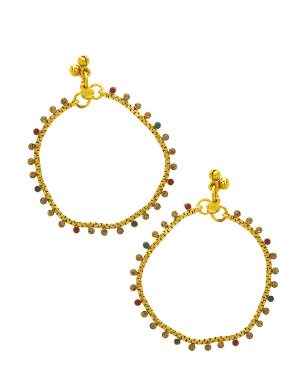 Multi Colour Gold Finish Simple Payal For Women
