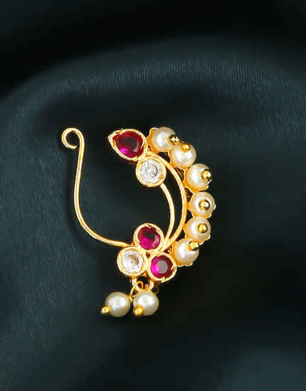 Pink Colour Gold Finish Moti Nath For Maharashtrian Weddings