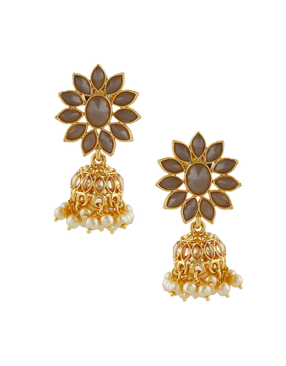 Brown Colour Gold Finish Jhumki Styled With Moti Beads Earrings