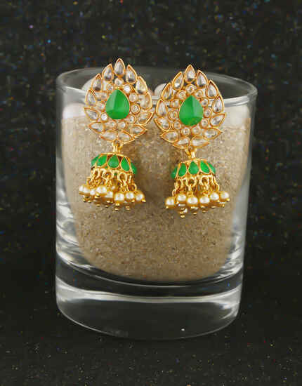 Designer Green Colour Gold Finish Fancy Earrings For Women