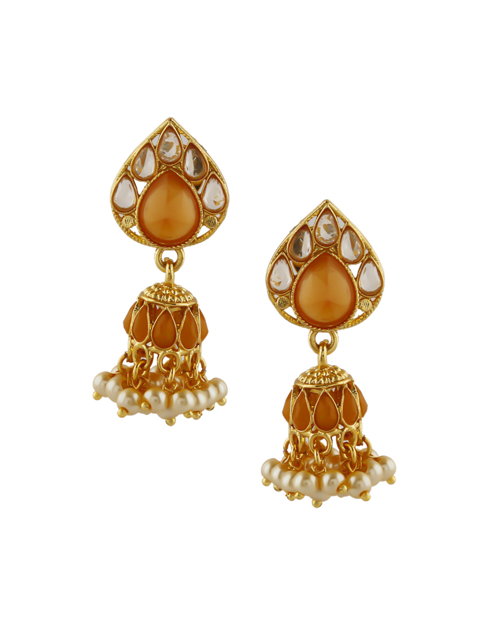 Orange Colour Gold Finish Pearls Styled Zumki Earrings