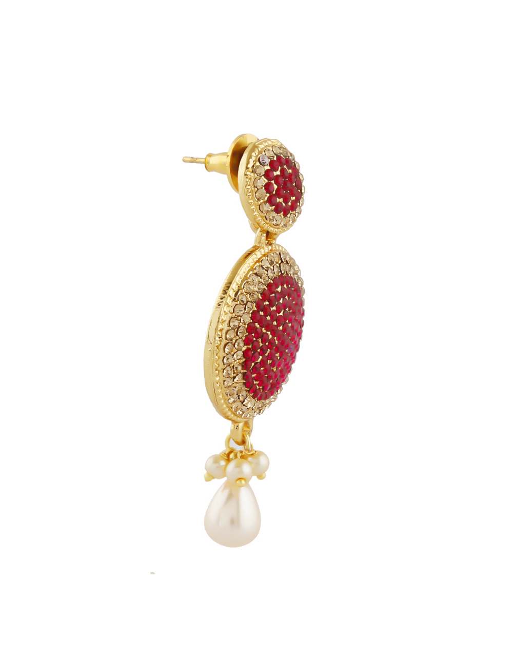 Red Colour Gold Finish Styled With Pearls Beads Earrings