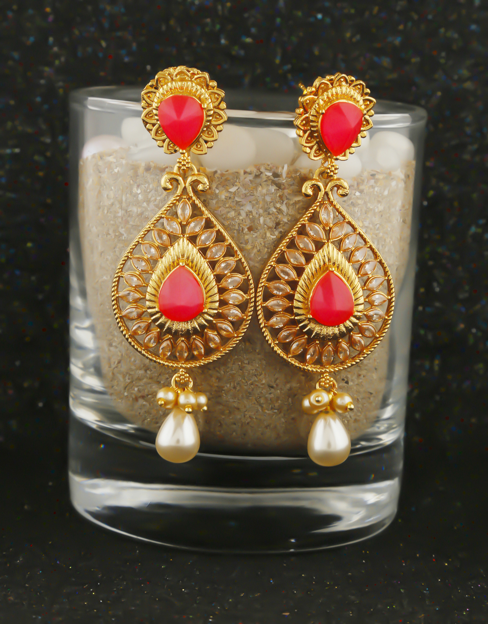 Red Colour Gold Finish Traditional Earrings For Women