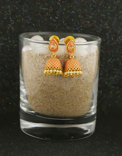 Simple Orange Colour Gold Finish Pearls Styled Jhumkies