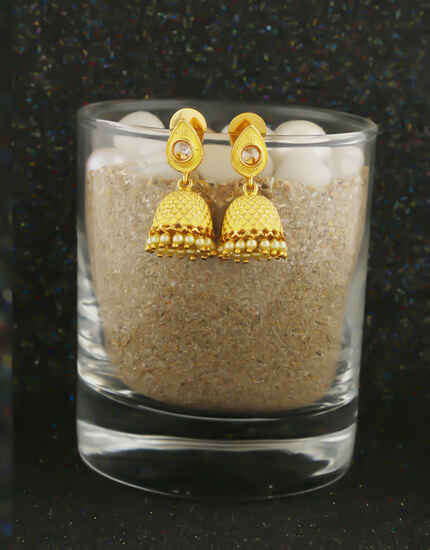 Yellow Colour Gold Finish Pearls Styled Jhumki Earrings