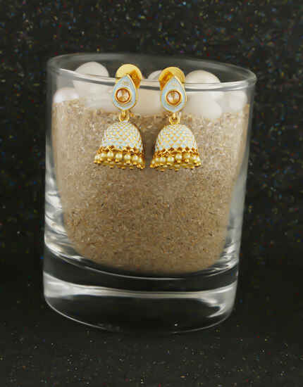Gold Finish Blue Colour Pearls Styled Earrings Jhumkaa