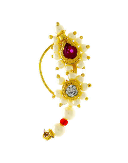 Gold Finish Pink Colour Pearls Styled Marathi Nath For Women