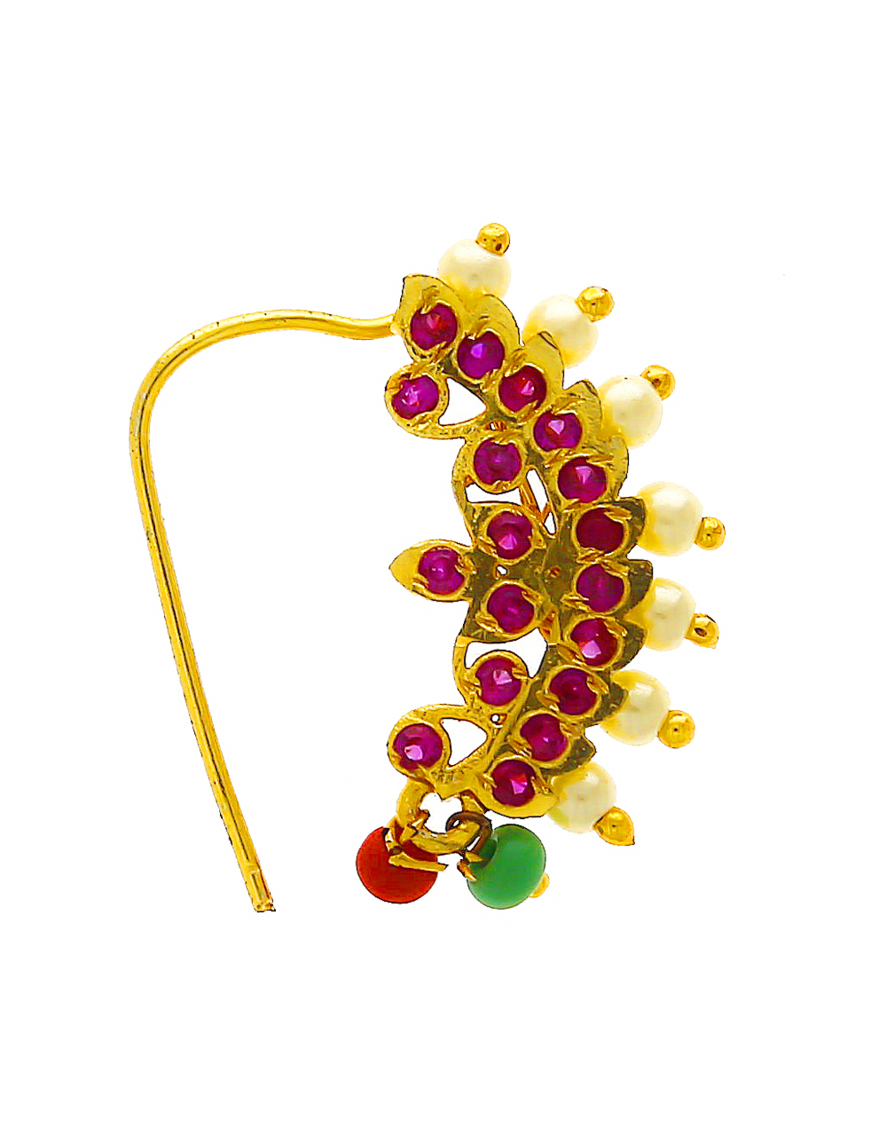Pink Colour Gold Finish Styled With Pearls Beads Nathani For Women