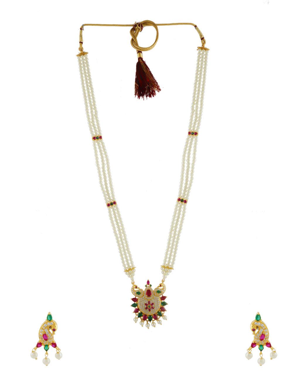 Multi Colour Gold Finish Peacock Design Pearls Jewellery For Women