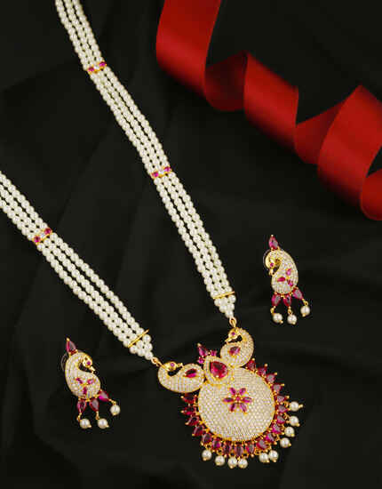 Anuradha Art Pink Colour Peacock Design Marathi Necklace For Girls