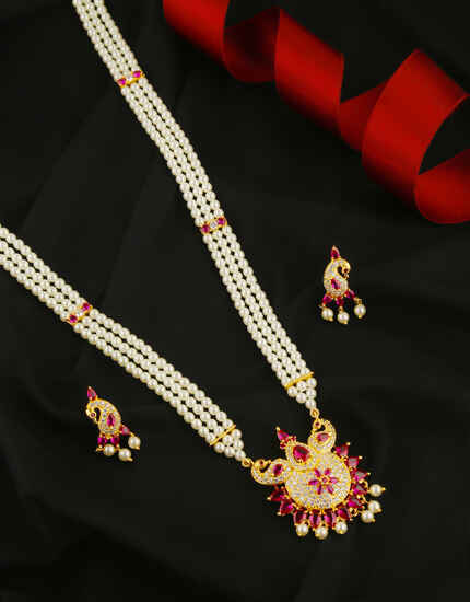 Anuradha Art Gold Finish Pink Colour Pearls Jewellery Necklace