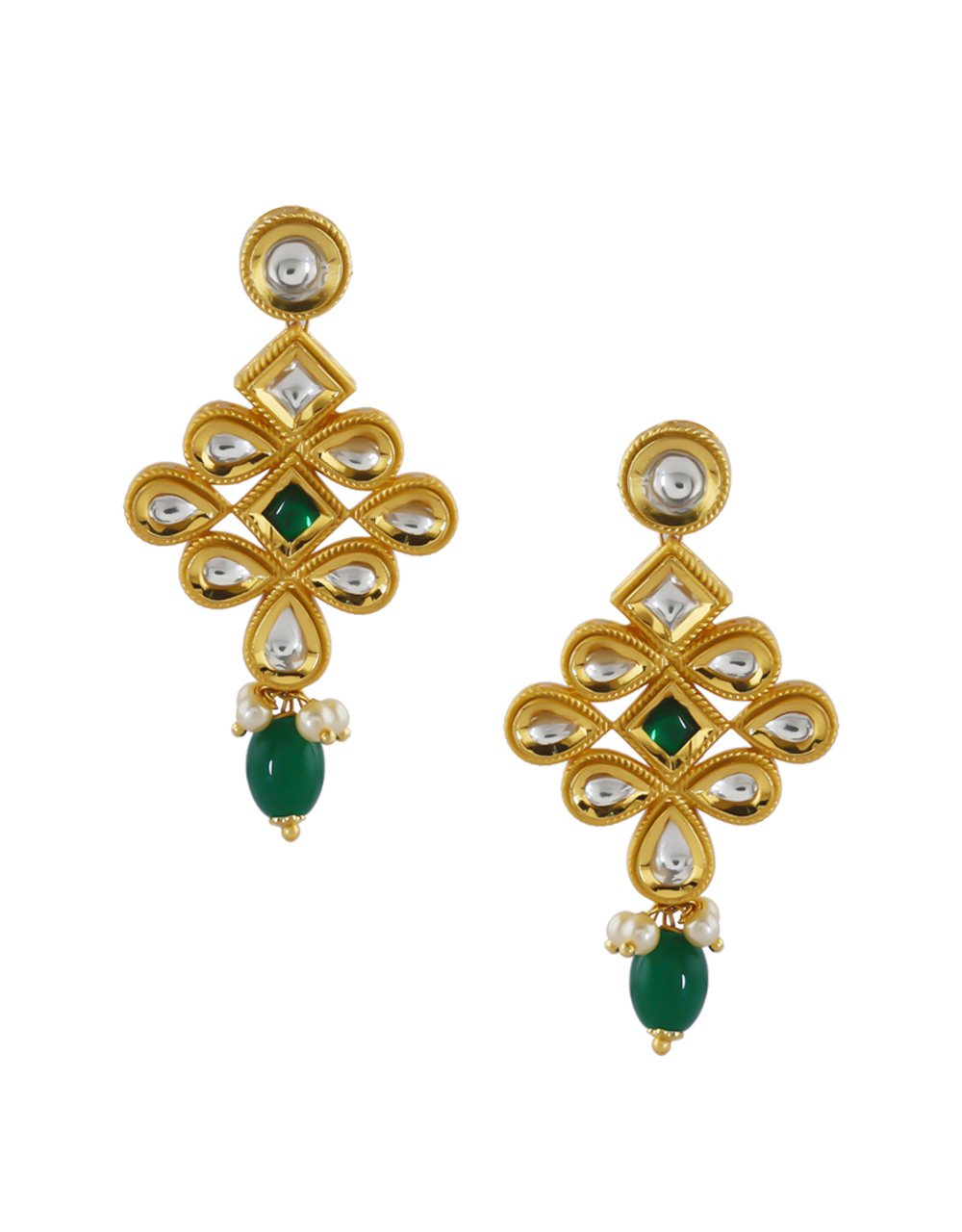 Green Colour Gold Finish Kundan Necklace For Women Fancy