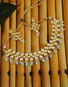 Turquiose Colour Gold Finish Styled With Pearls Beads Necklace