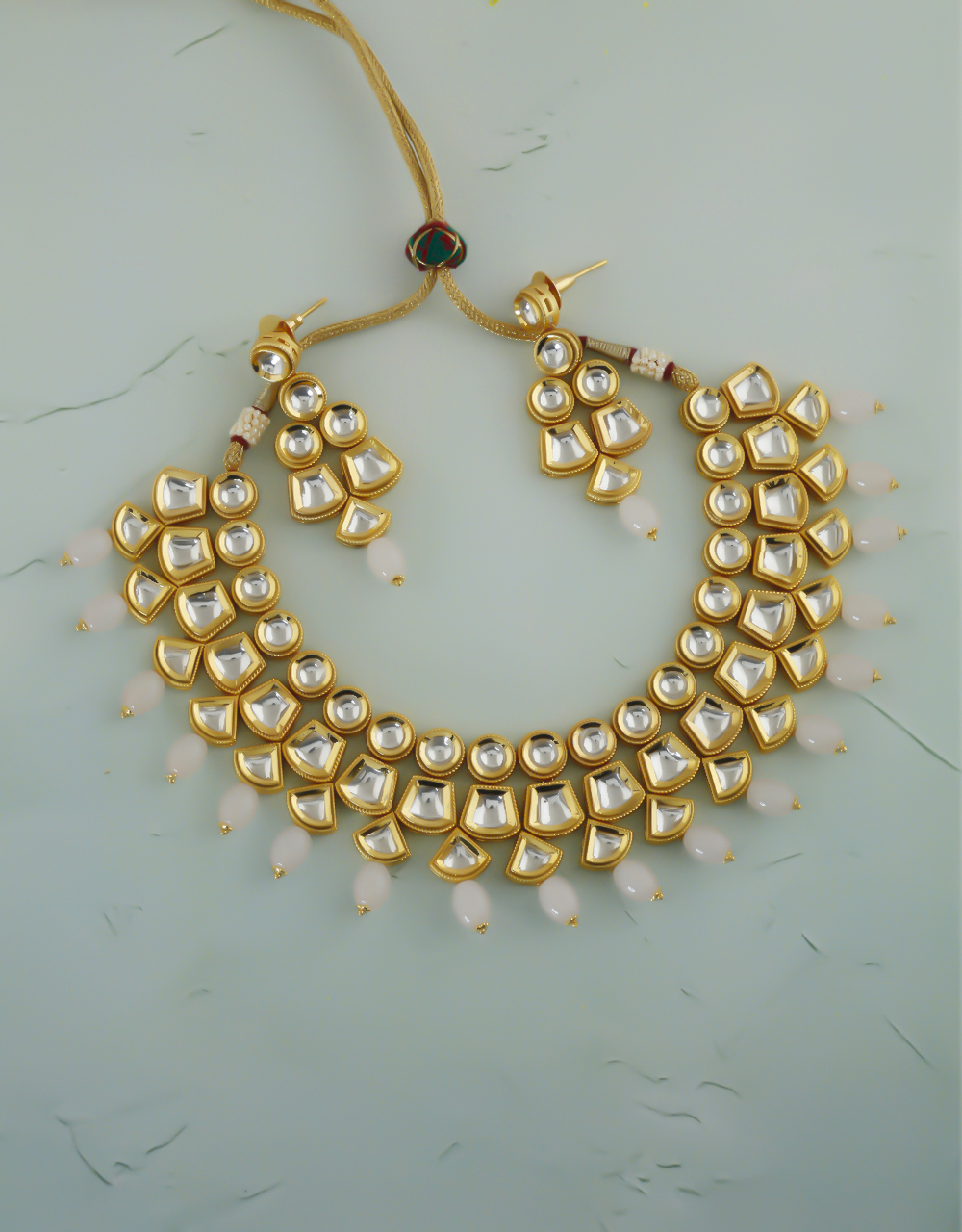 Pink Colour Gold Finish Styled With Beads Kundan Necklace