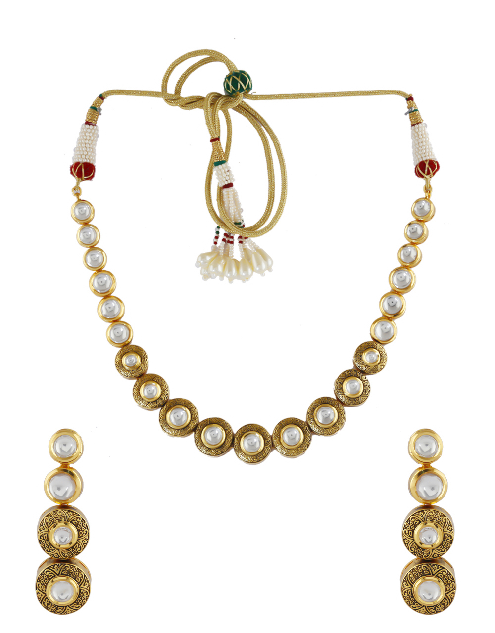 Matte Gold Finish Traditional Kundan Necklace For Women