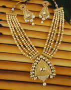 Matte Gold Finish Kundan Necklace Styled With Beads Fancy Necklace