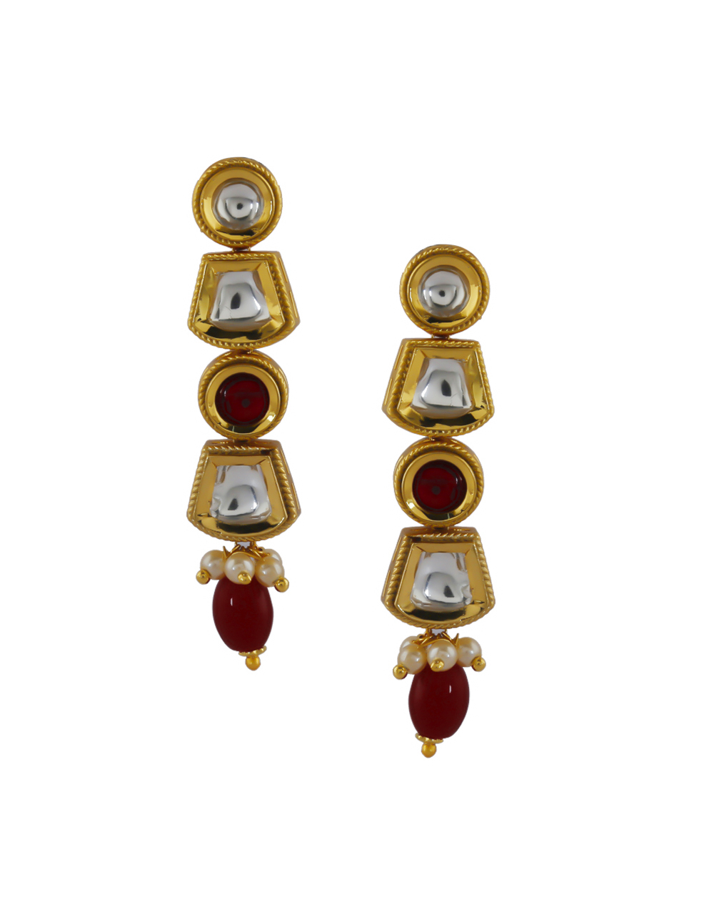 Red Colour Gold Finish Styled With Pearls Beads Fancy Necklace