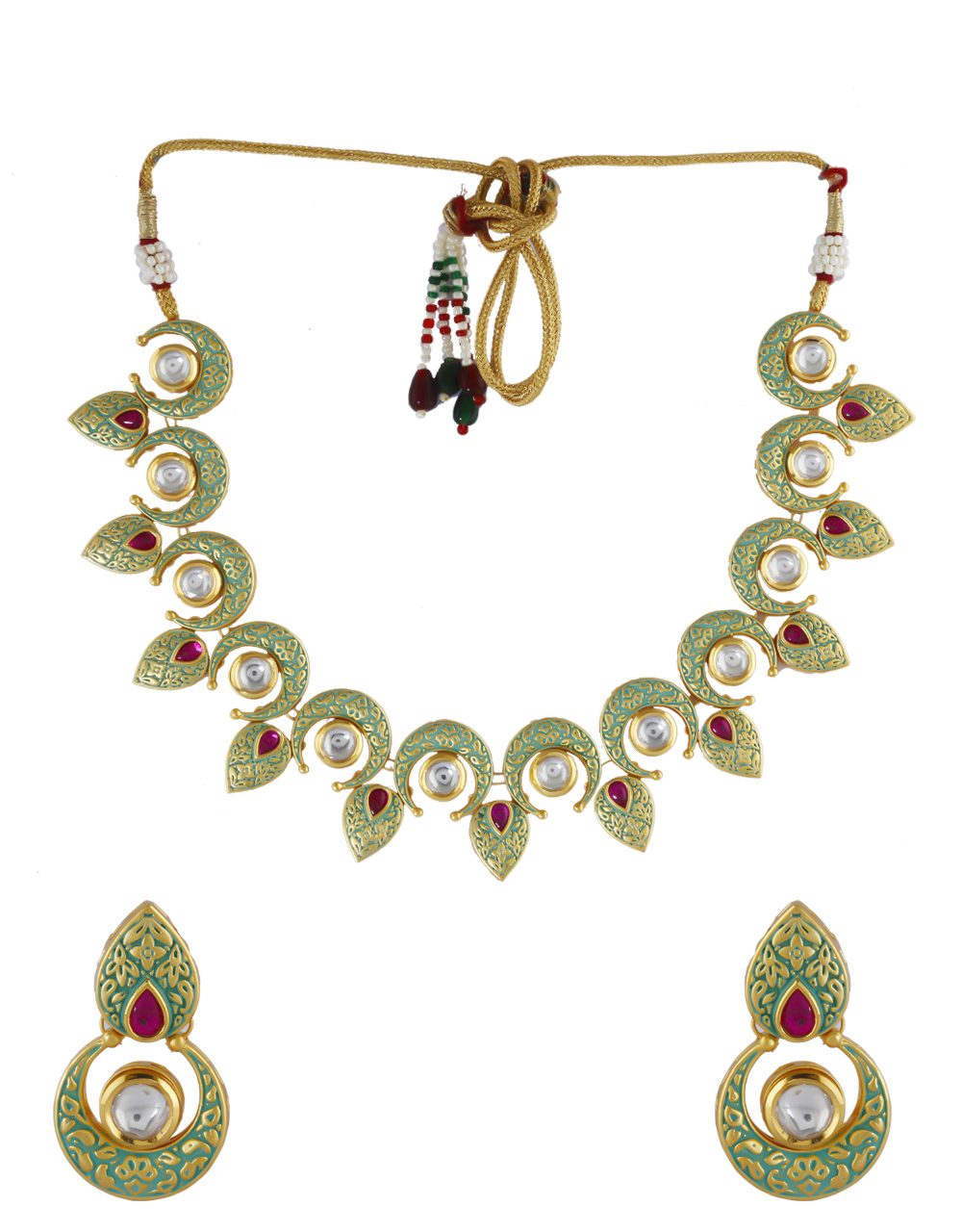 Green Colour Gold Finish Kundan Necklace For Wedding