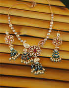 Gold Finish Floral Design Studded With Diamond Beads Necklace