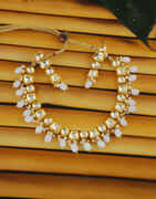 White Colour Gold Finish Kundan Necklace Jewellery For Girls