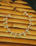 Green Colour Gold Finish Floral Design Mint Kundan Necklace
