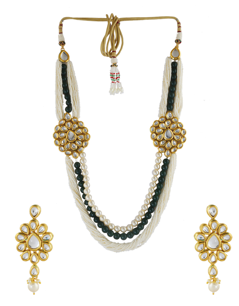 Green Colour Gold Finish Styled With Beads Kundan Necklace