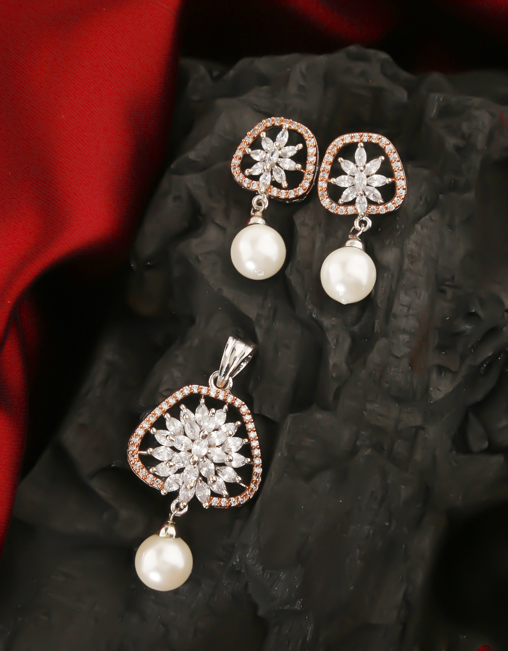 Silver Finish Studded With American Diamond Pendant Set For Girls