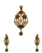 Antique Gold Finish Studded With American Diamond Pendant Set