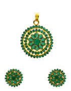 Green Colour Floral Design American Diamond Pendant Set