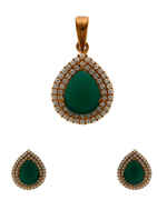 Green Colour Rose Gold Finish Diamond Pendant Set