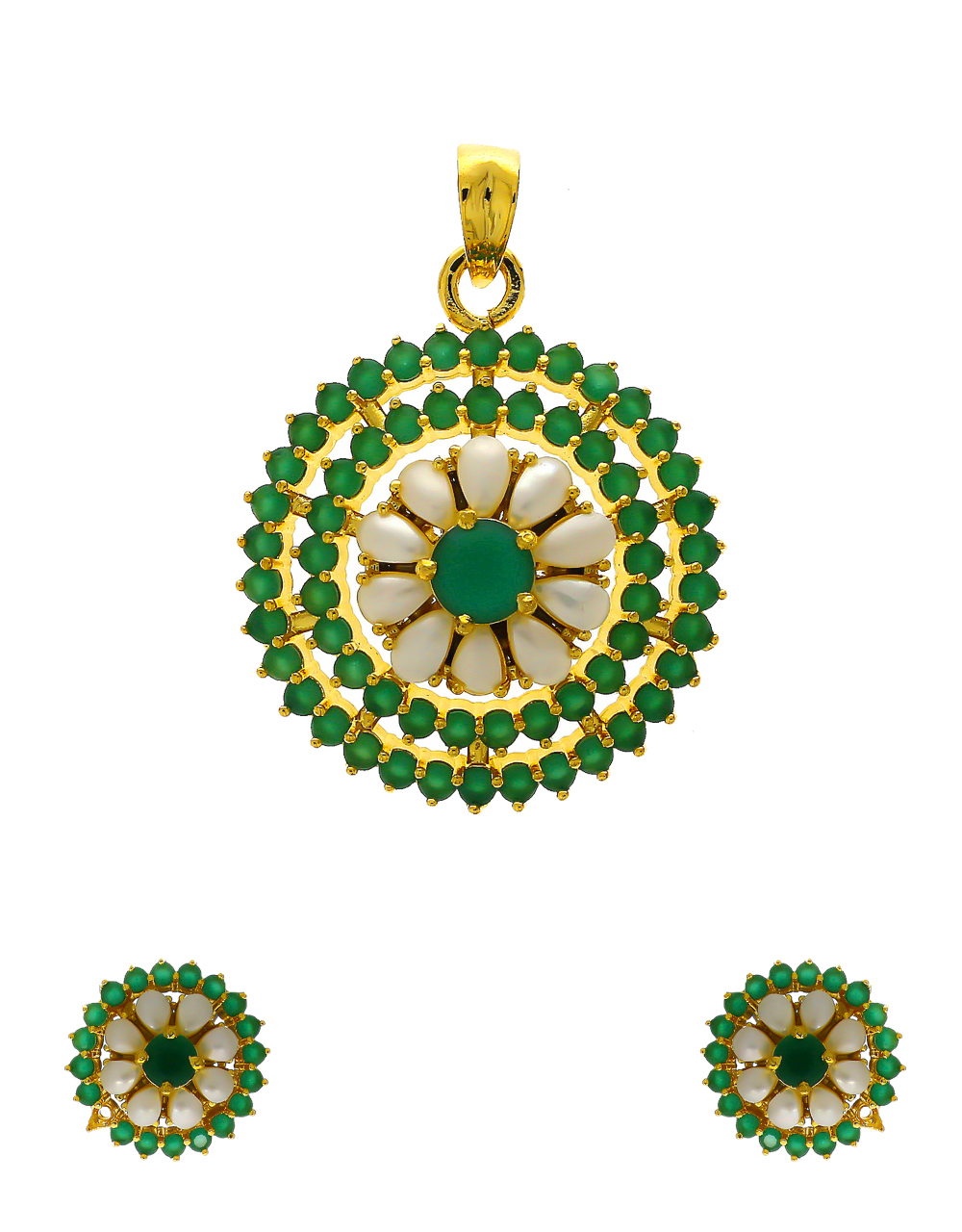Green Colour Gold Finish Traditional Pendant Set