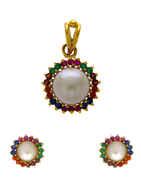 Multi Colour Gold Finish Pearls Styled Pendant Set