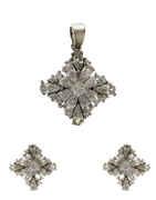 Silver Finish American Diamond Adorable Pendant Set