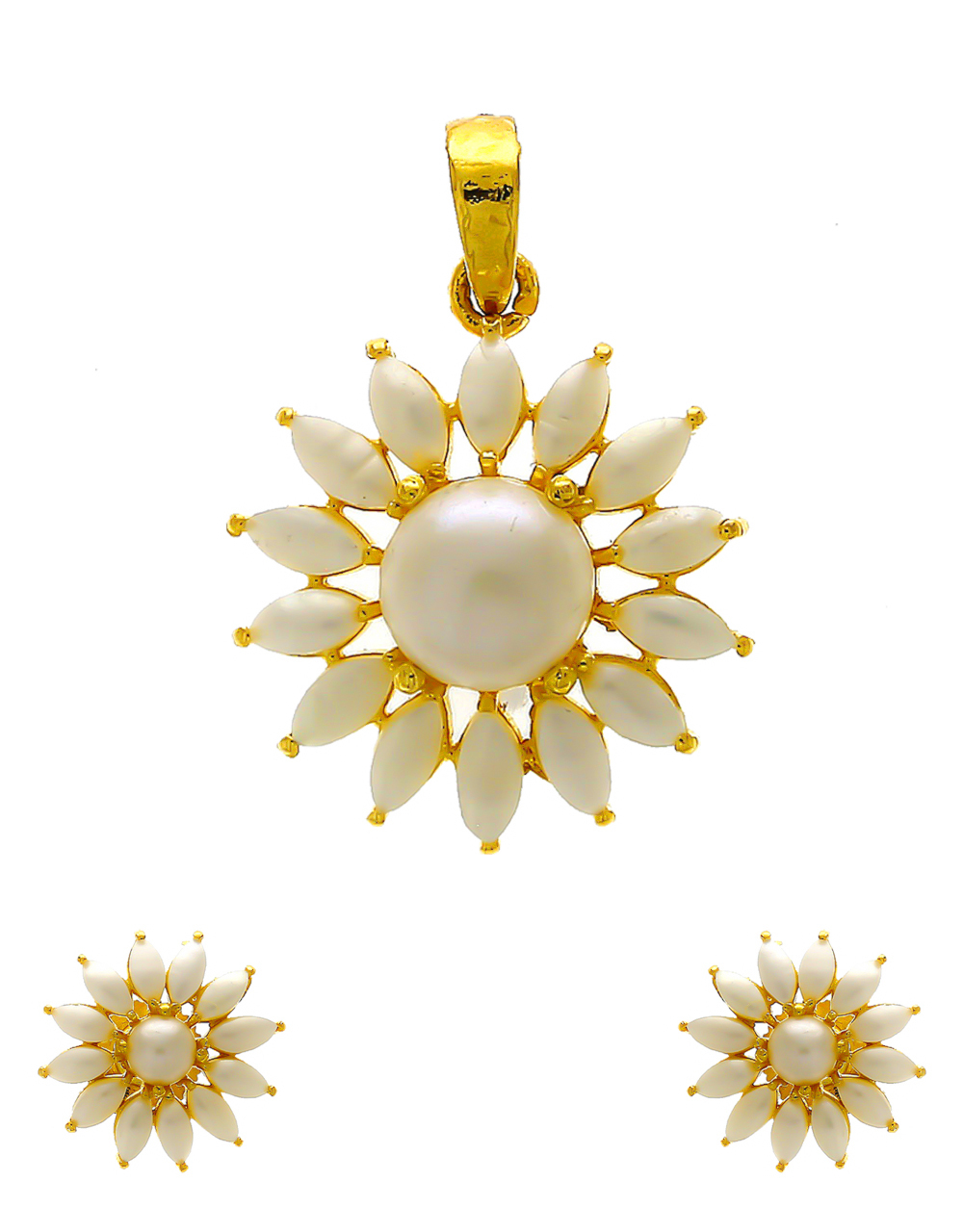 Floral Design Gold Finish Pearls Styled Pendant Set
