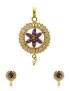 Violet Colour Gold Finish American Diamond Pendant Set