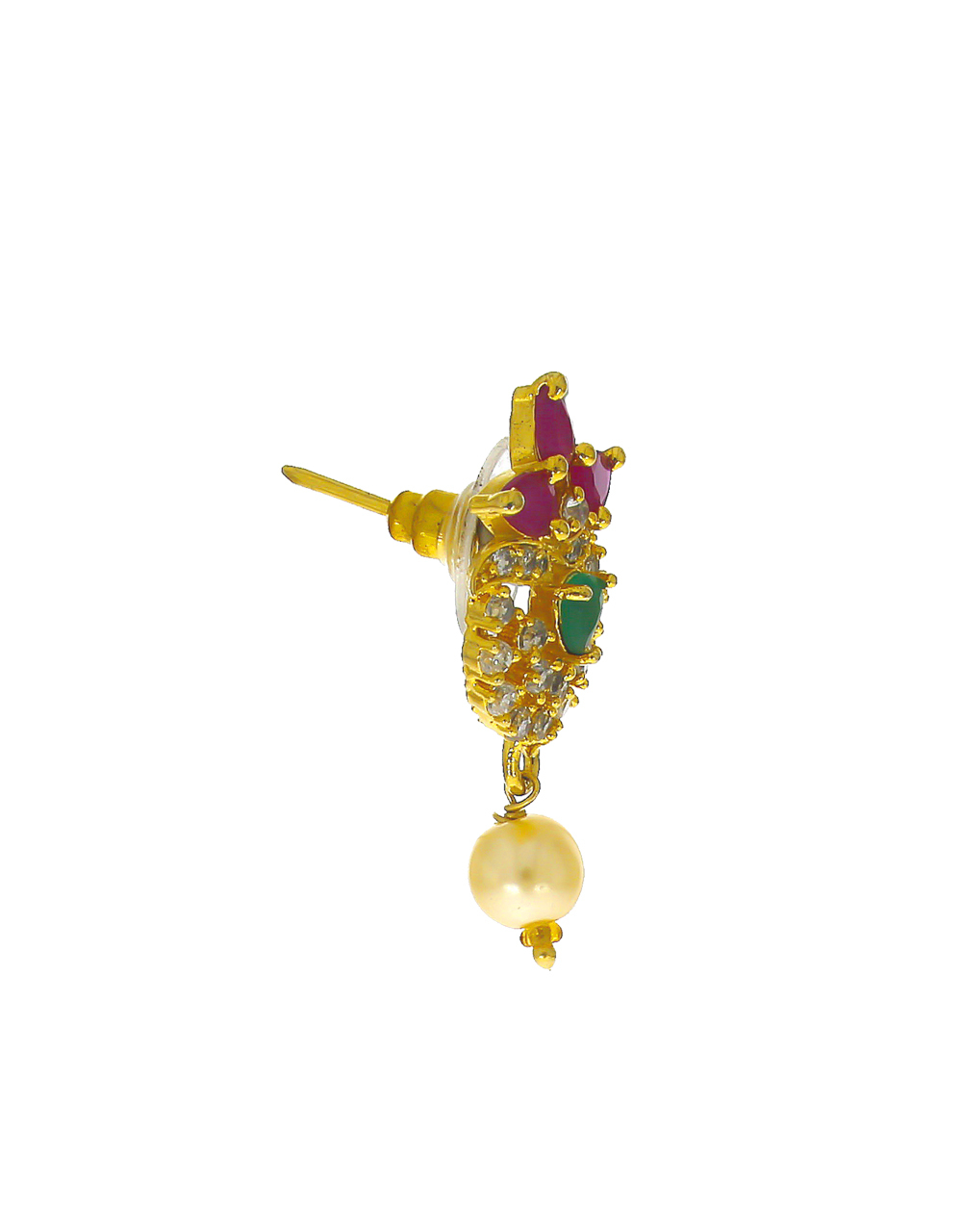 Multi Colour Gold Finish Styled With Pearls Beads Pendant